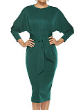 Image of Round Neck Solid Color Long Sleeve Hip Dress