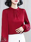 Band Collar Elegant Plain Long Sleeve Blouse
