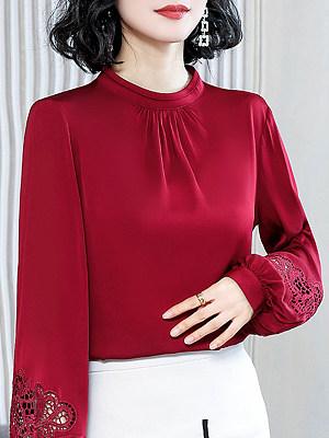 Band Collar Elegant Plain Long Sleeve Blouse, 24443405
