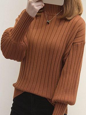 Short High Collar Elegant Plain Long Sleeve Knit Pullover, 10567442