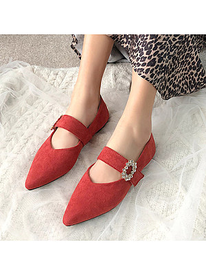 Plain Flat Velvet Ankle Strap Point Toe Date Office Comfort Flats, 11171389