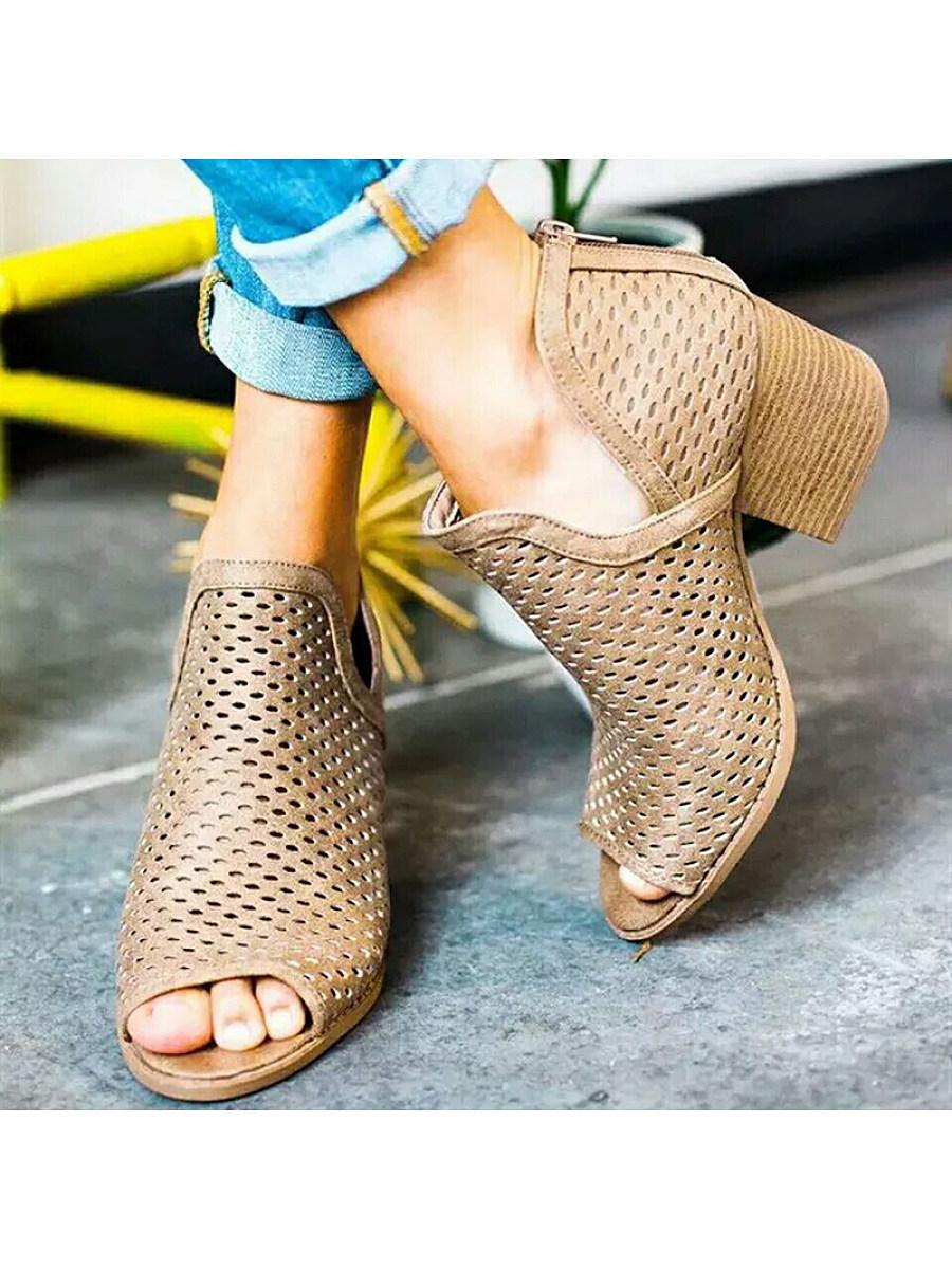 Fashion Hollow Open Toe Mesh Stiletto Heel Shoes