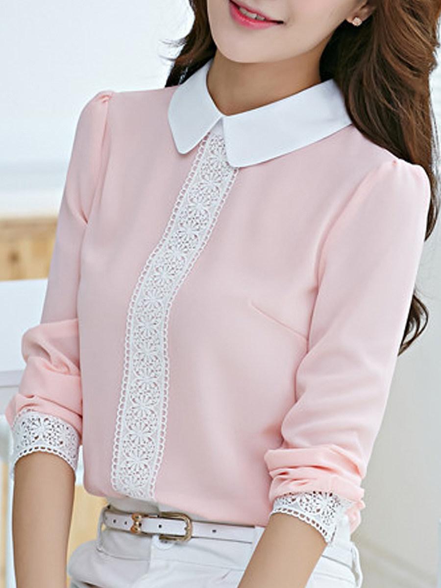 Casual Slim Doll Collar Chiffon Lace Panel Blouse