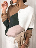 Image of Round Neck Pullover Solid Color Stitching Sweater