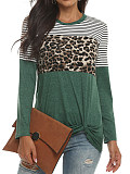 Image of Round Neck Leopard Patchwork Long Sleeve T-shirt