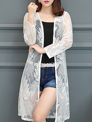 See-Through Floral Plain Long Sleeve Cardigan, 11365694