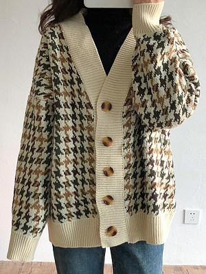 V Neck Casual Plaid Long Sleeve Knit Cardigan, 10307723