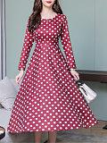 Image of New round neck polka dot long sleeve maxi dress