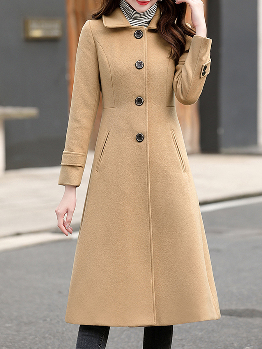 Fashion fold collar camel long sleeve button slim coat - from $33.95