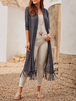 Ladies casual fashion tassel cardigan sun protection shirt