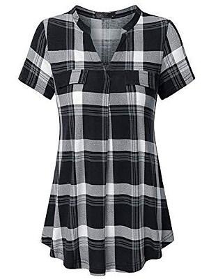 V Neck Plaid Short Sleeve Blouse, 11571363