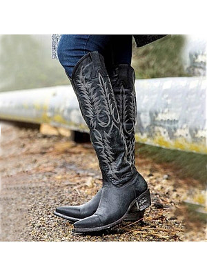 Vintage Women Thick Heel Pointed Toe Boots, 10568236