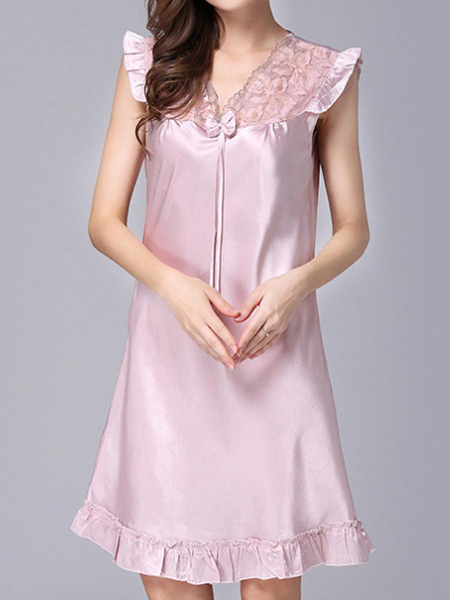 BerryLook Fashion - women's silk pajama ladies spring summer lace sexy nightgown home wear