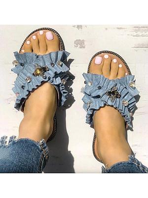 Lace bee rhinestone beach vacation sandals, 11231146