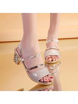 Fashion ladies peep-toe two wearing thick heel sandals
