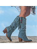 Image of Fashion thick heel frosted high-tube fringed women's boots