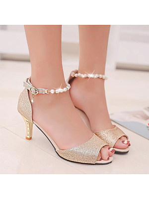 Women's Fashion Solid Color Beaded Buckle Heels, 11061696