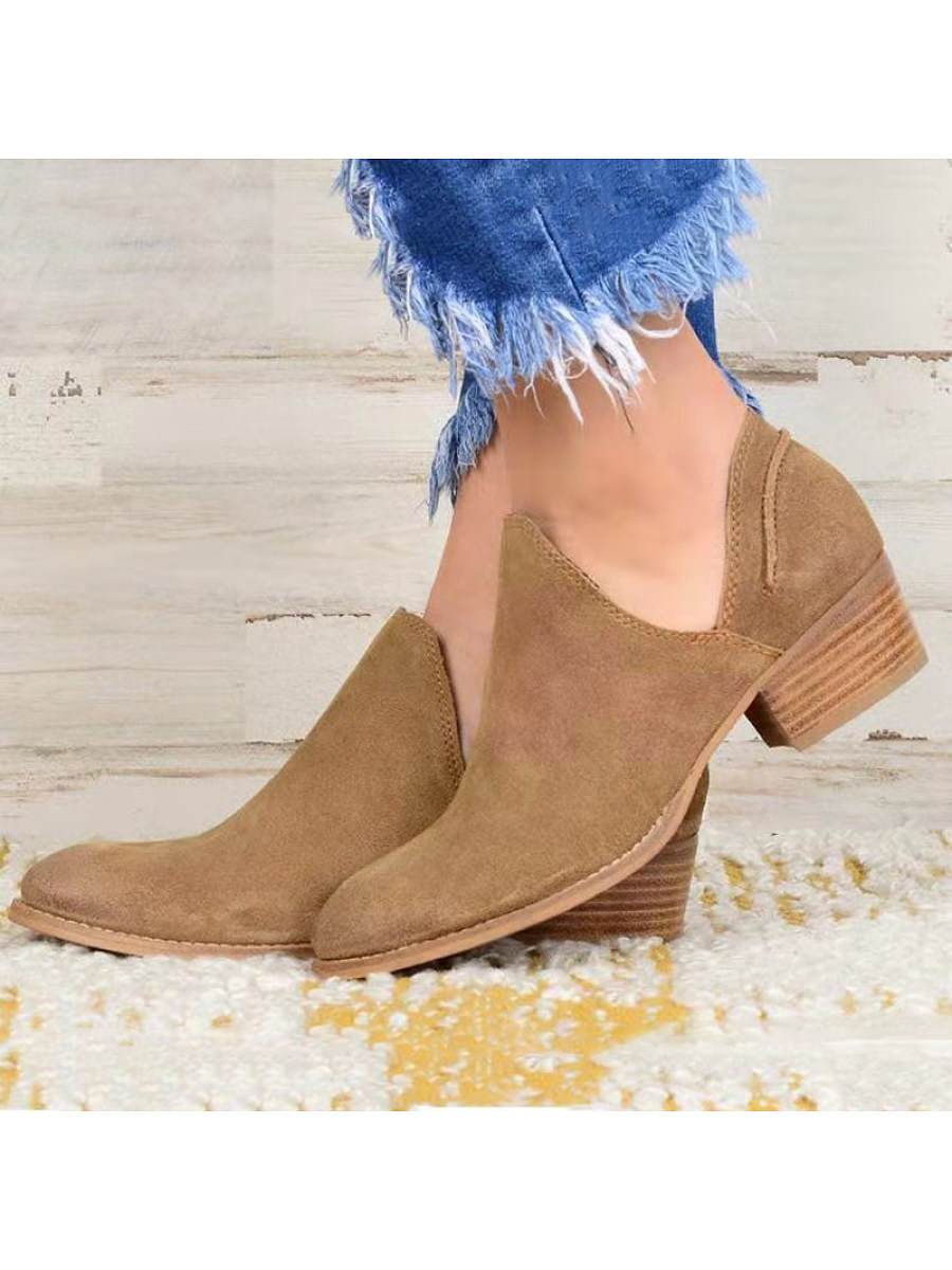 Fashion casual low barrel pure color women's Boots - from $29.95