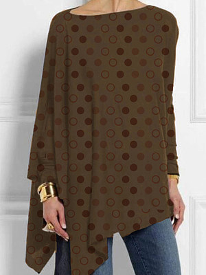 Round Neck Dot Loose Fitting Long Sleeve T-Shirt, 11230631