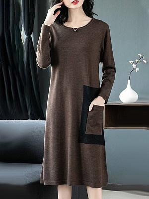 Round Neck Slit Pocket Plain Shift Dress, 10124244