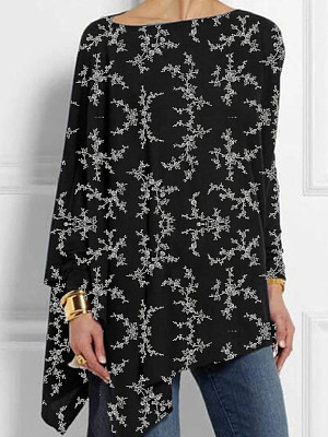 Round Neck Print Loose Fitting Long Sleeve T-Shirt, 11187950