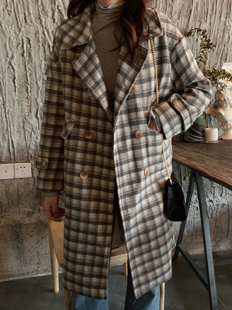 Women's Fashion Fold-over Collar Plaid Coat - from $31.95