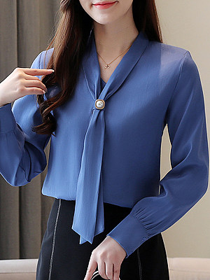 V Neck Elegant Beading Plain Long Sleeve Blouse, 11209244