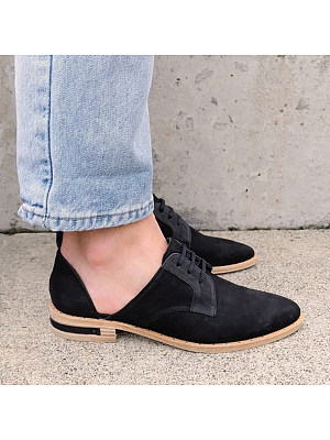 Women Lace-up Side Hollow Out Patchwork Flats, 11014768