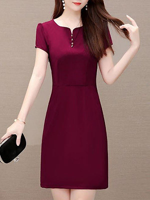 V-Neck Plain Single Breasted Shift Dress, 11241831