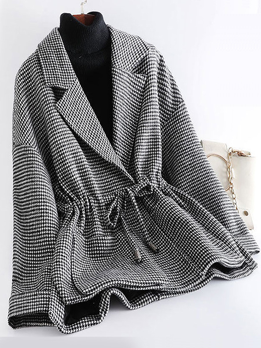 Fashion plaid tie woolen coat - from $32.95