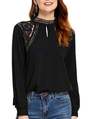 Long sleeve keyhole lace blouse, 11259207