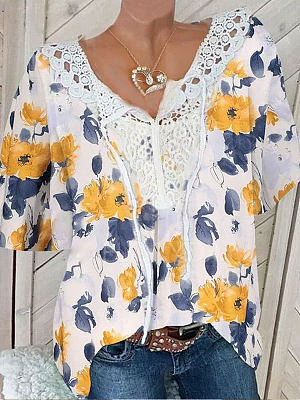 V-neck Lace Stitching Floral Print Short-sleeved Blouse