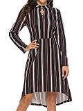 Image of Striped Long Sleeve Round Neck Waist Dress