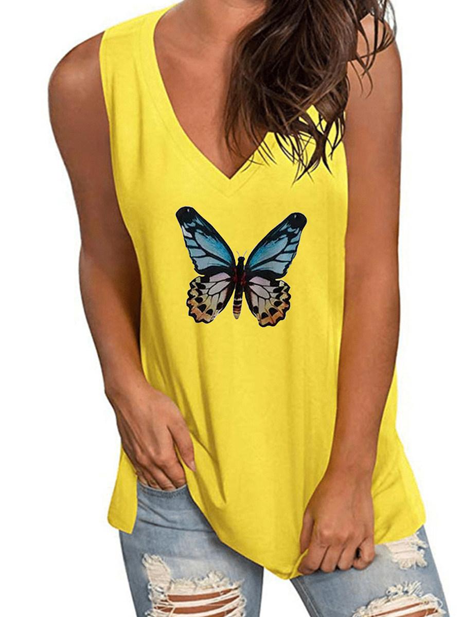 BerryLook V Neck Print Sleeveless T-shirt
