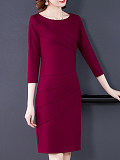 Image of Long Sleeve Round Neck Solid Color Bag Hip Dress