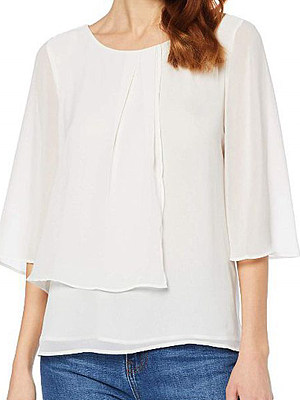 Round Neck Patchwork Plain Half Sleeve Blouse, 11158221