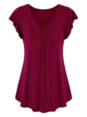 V Neck Plain Buttons Short Sleeve T-shirt, 11580325