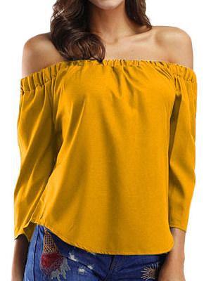 Open Shoulder Plain Three-quarter Sleeve Blouse, 11415455