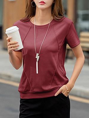 Round Neck Plain Short Sleeve T-shirt, 11588590