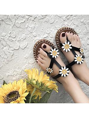 Flower slip-on Roman sandals