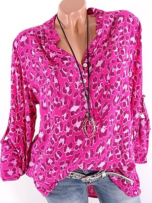 Women's V Neck Leopard Long Sleeve Blouse gender:woman, colour:red, season:autumn,spring, texture:polyester, pattern_type:leopard print, sleeve_length:long sleeve, sleeve_type:regular sleeve, style:leisure, collar_type:stand collar, laundry_guide:machine washable, dress_occasion:daily,leisure, shoulder width:43,bust:120,clothing length:73,sleeve length:66,