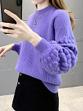 Image of Round Neck Puff Sleeve Knit Pullover