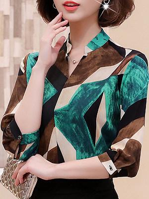 V Neck Printed Long Sleeve Blouse, 11338433