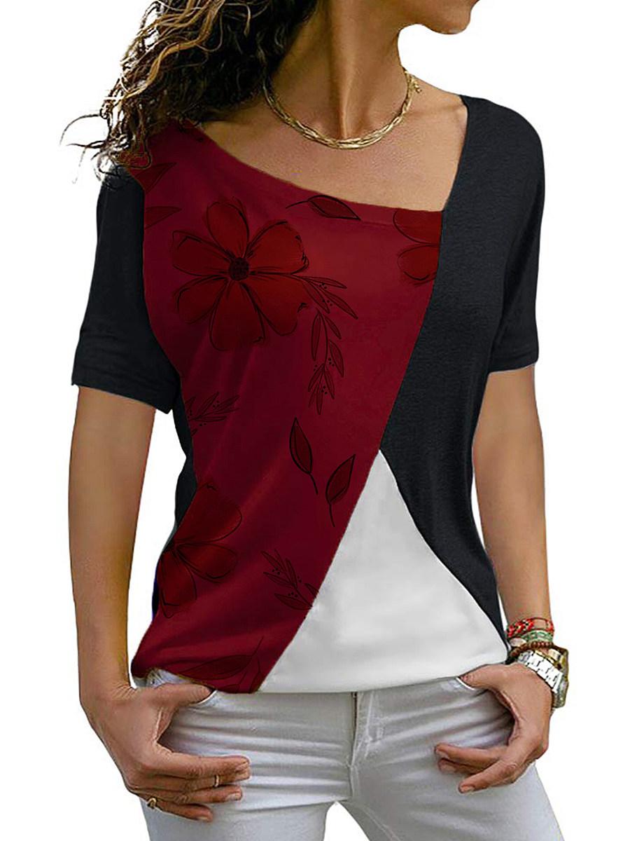 Asymmetric Neck Patchwork Color Block Short Sleeve T-Shirt