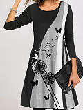 Image of Casual Floral Tunic Round Neckline A-line Dress