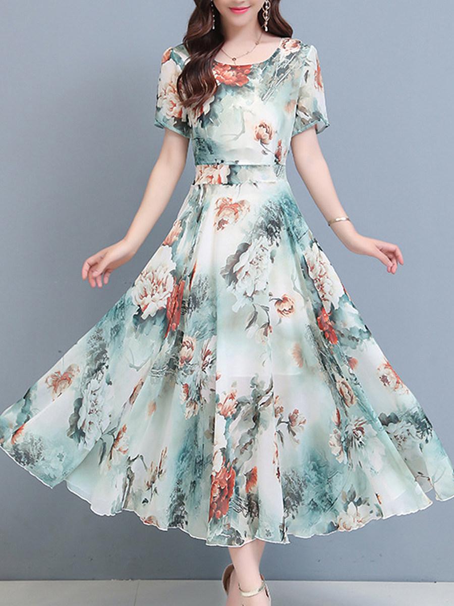 BerryLook Plus Size Chiffon Print Maxi Dress