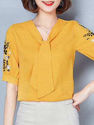 V Neck Embroidery Short Sleeve Blouse, 11273291