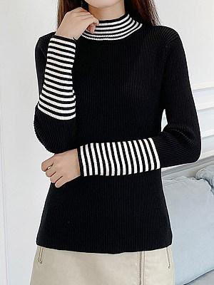 Short High Collar Striped Long Sleeve Knit Pullover