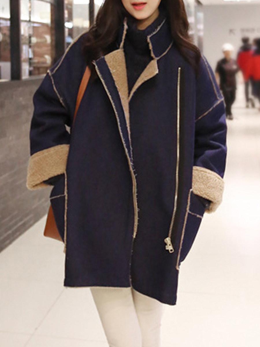Medium long lapel zipper coat - from $38.95