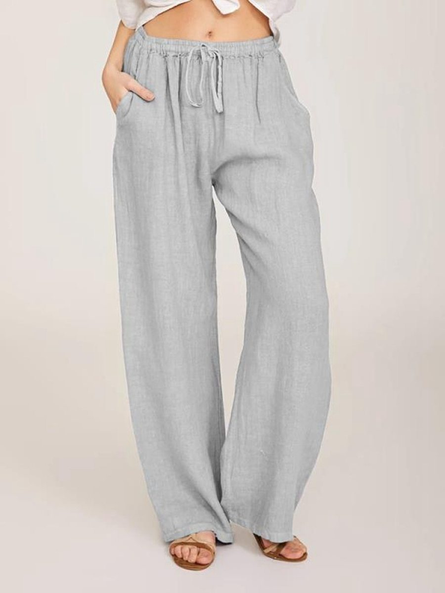 BerryLook Solid color elastic waist pockets loose casual trousers